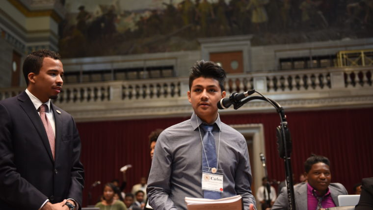 Student presents on the floor of the Missouri Capitol during the Emerging Leaders Conference.