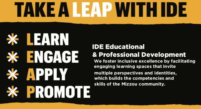 Take a LEAP with IDE. Content from infographic in paragraph describing LEAP principles below.