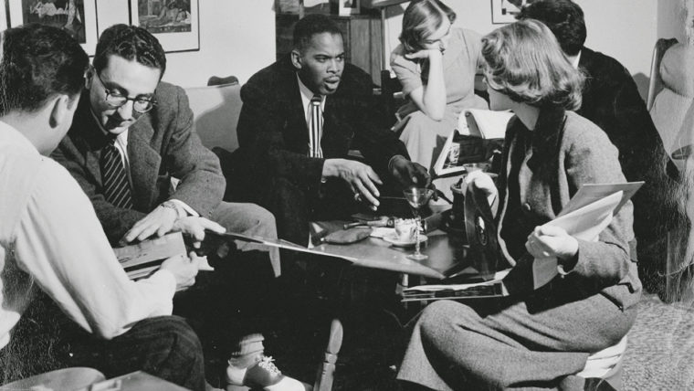 George C. Brooks talks with students while in school in 1950. Photo courtesy MIZZOU alumni magazine.