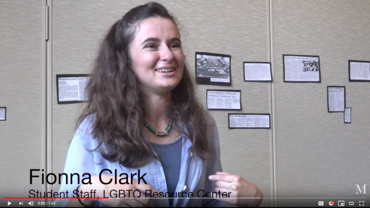 Fiona Clark, student staff at the LGBTQ Resource Center, talks about why presenting on the history is so important.