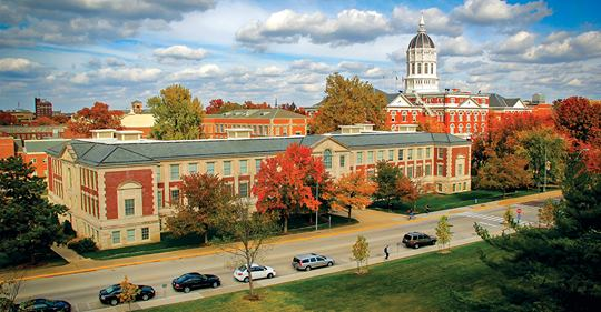 Picture of University of Missouri College of Education and Jesse Hall in the background.