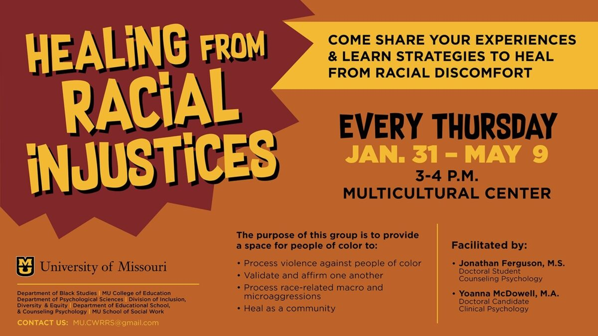 Healing from Racial Injustices is a group for students, staff, and faculty of color to build community, share experiences as a person of color, and heal together. The group meets 3-4 p.m. Thursdays in the Multicultural Center from Jan. 31-May 9. In the past, discussions have covered navigating predominantly white spaces, mental health effects of domestic terrorism, methods of activism, allyship, identity development, and much more. They also incorporate skills for healing through the use of emotion-regulation, mindfulness, and distress tolerance strategies.