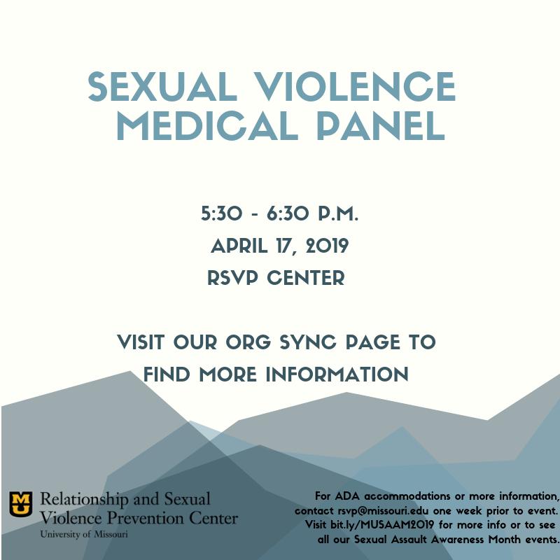 Sexual Violence Medical Panel flyer. 5:30-6:30 p.m. April 17 at the RSVP Center.
