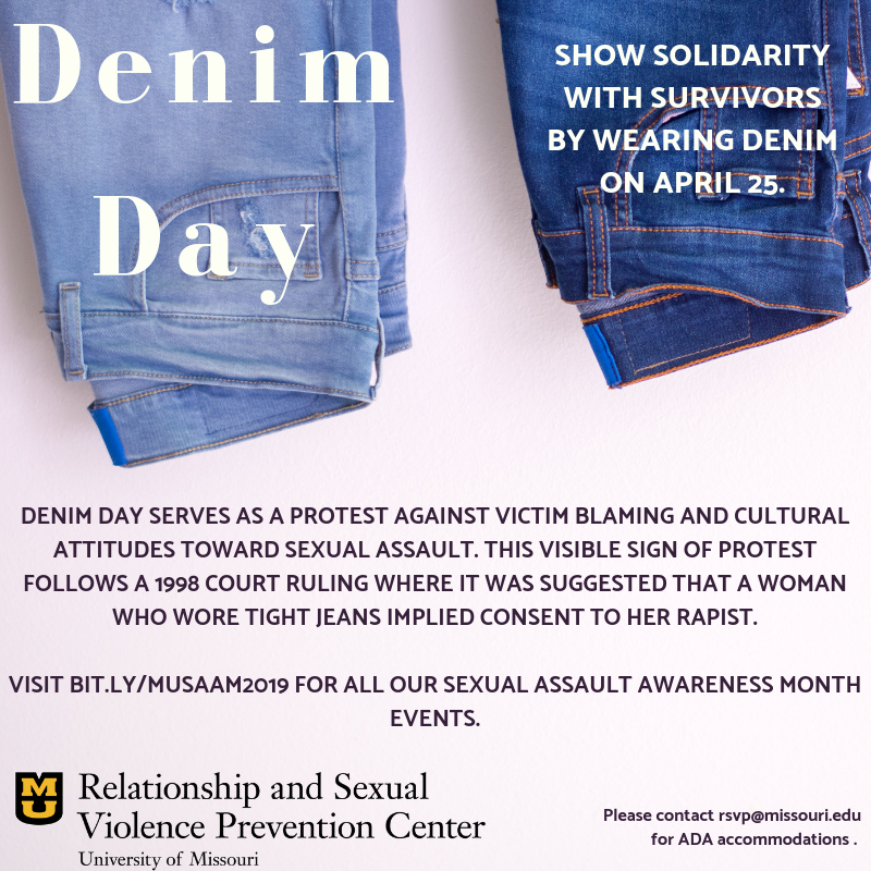 Denim Day Flyer. Show solidarity with survivors by wearing denim on April 25.