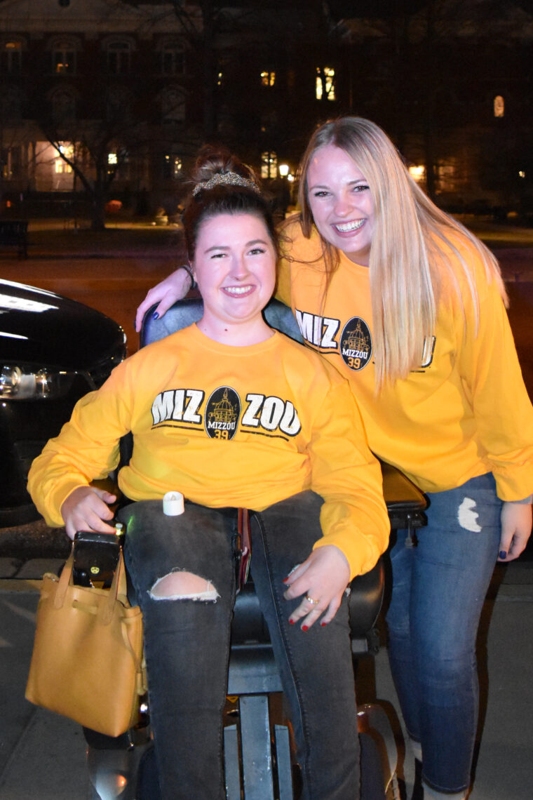 Ellie Stitzer and Megan Stober pose on Traditions Plaza after being recognized with Mizzou 39. Photo by Amber Cheek.