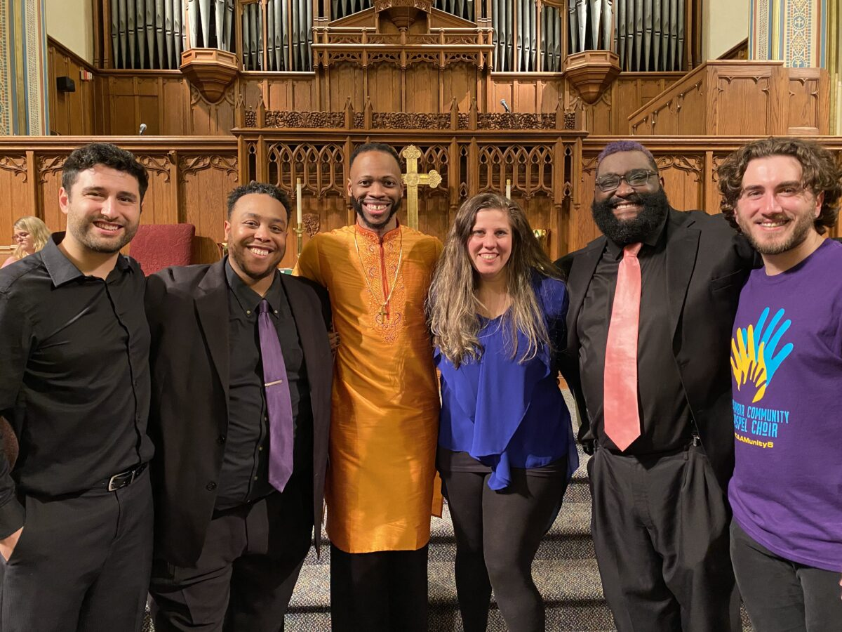 Photo of five conductors from the Unity benefit concert.