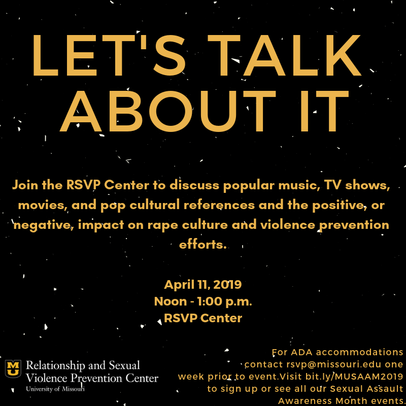 Let's Talk About It event flyer for Noon-1 p.m. in the RSVP Center.