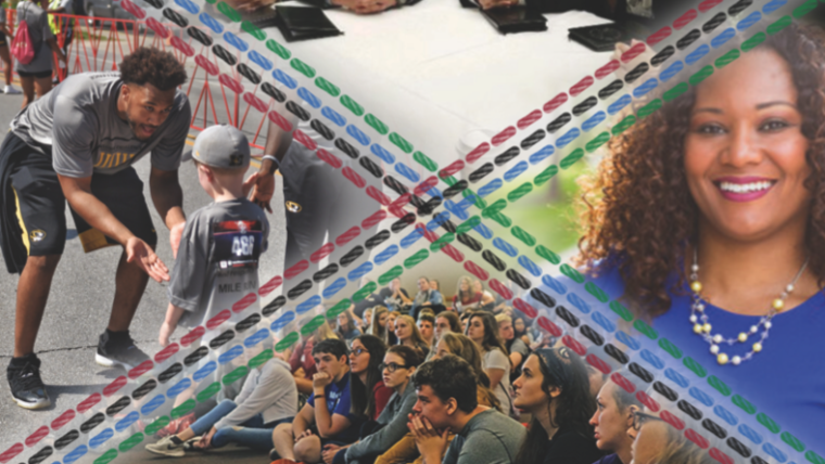 Cover image from Winter 2019 Tapestry edition. Images include a Mizzou football player giving high fives to a child, students watching a seminar, business students gathered around a table, and a young woman who is a new UMSL employee.