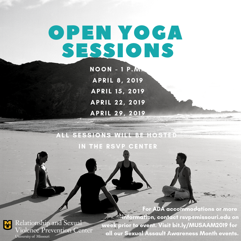 Open Yoga sessions. Held noon-1 p.m. April 8, 15, 22, 29 in the RSVP Center.