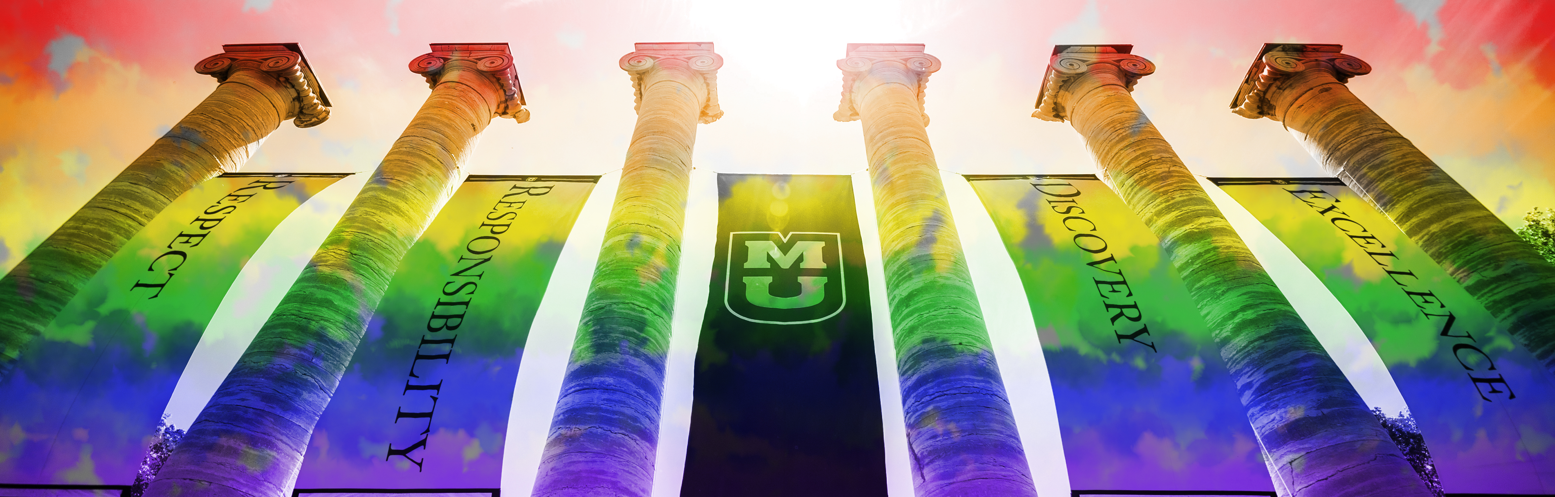 Photo of Columns overlayed by rainbow gradient color.