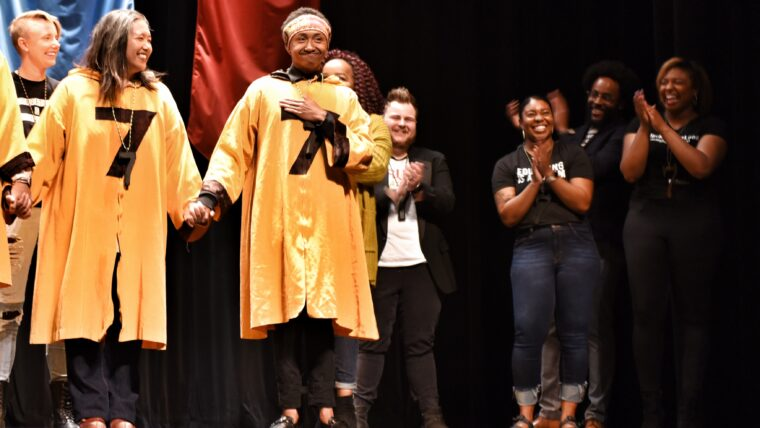 Graduate student Jerome J. Young is revealed as an Honor Tap of Mystical Seven.