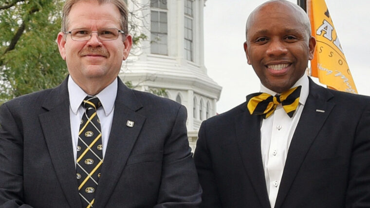 Joint shot of Chancellor Alexander Cartwright and Vice Chancellor of Inclusion, Diversity & Equity Kevin McDonald on Traditions Plaza.