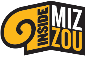 Inside Mizzou podcast logo with a column on the left and MIZ-ZOU on the right in black and gold.