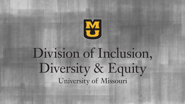 Division of Inclusion, Diversity & Equity with MU logo on a gray textured background