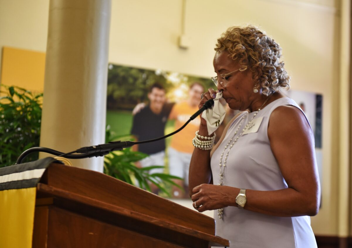 CJ Tatum, McDonald's long-time executive assistant, tears up during her speech.