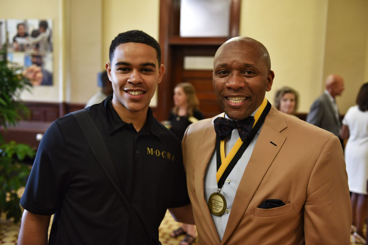 Students from the Men of Color, Honor and Ambition (MOCHA) program, which McDonald started at MU, came to celebrate him.
