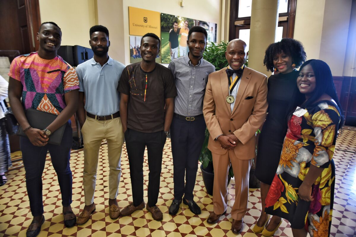 Members of the African Graduate Professional Student Association (AGPSA) thank McDonald for his work with student organizations.