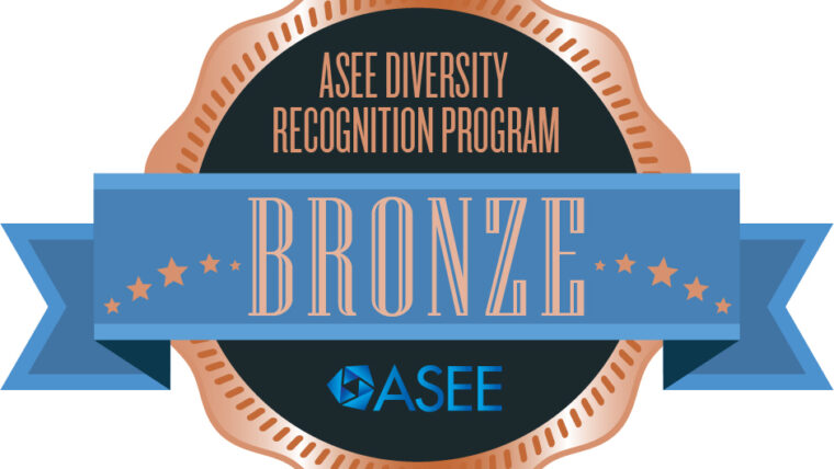 Image of a bronze medal with blue ribbon over a navy background. Includes ASEE logo and