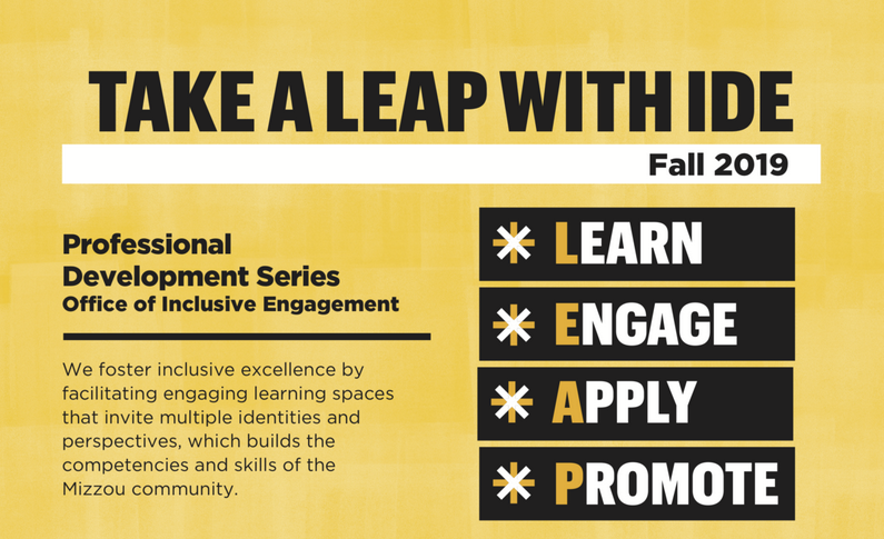 LEAP: Learn, Engage, Apply, Promote image with black text boxes on a gold paint-textured background.
