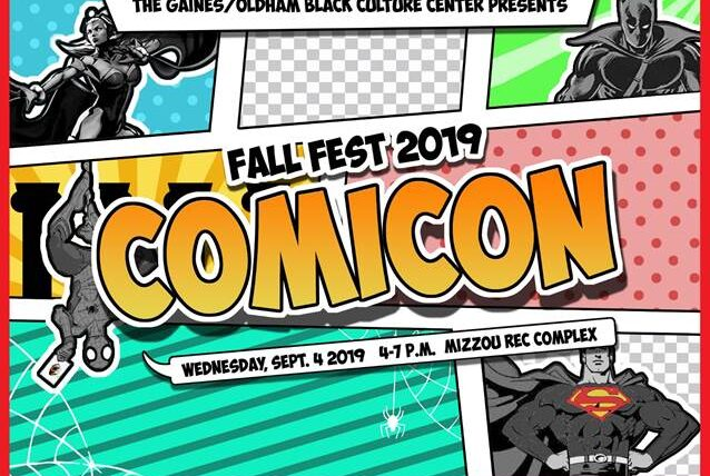 Fall Fest 2019: Comicon with comic panels and graphics sharing the details of the event.