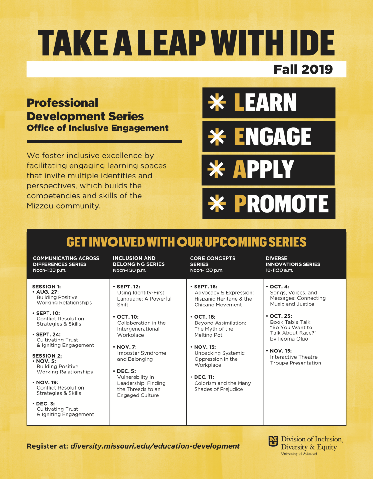 LEAP Fall 2019 Offerings - Text provided in post
