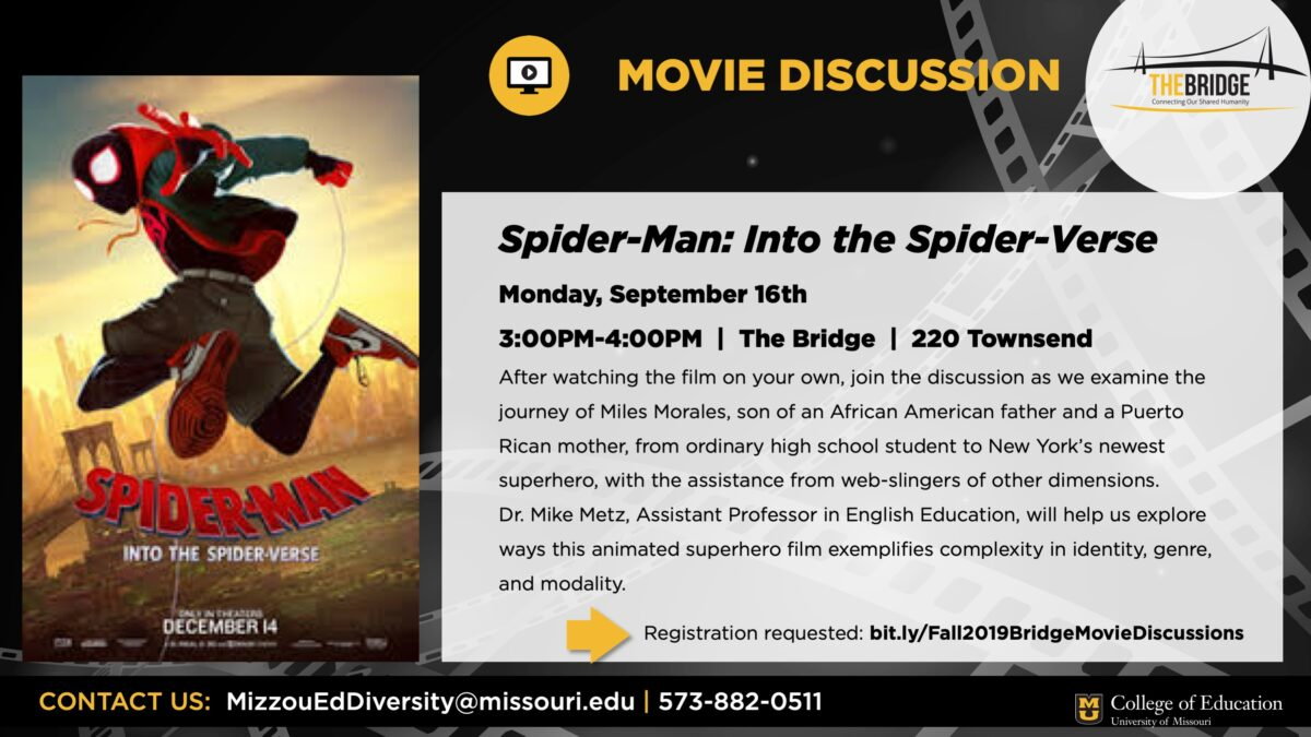 Event flyer with Spider-Man movie graphic and event text description pulled out. Information in text of post.