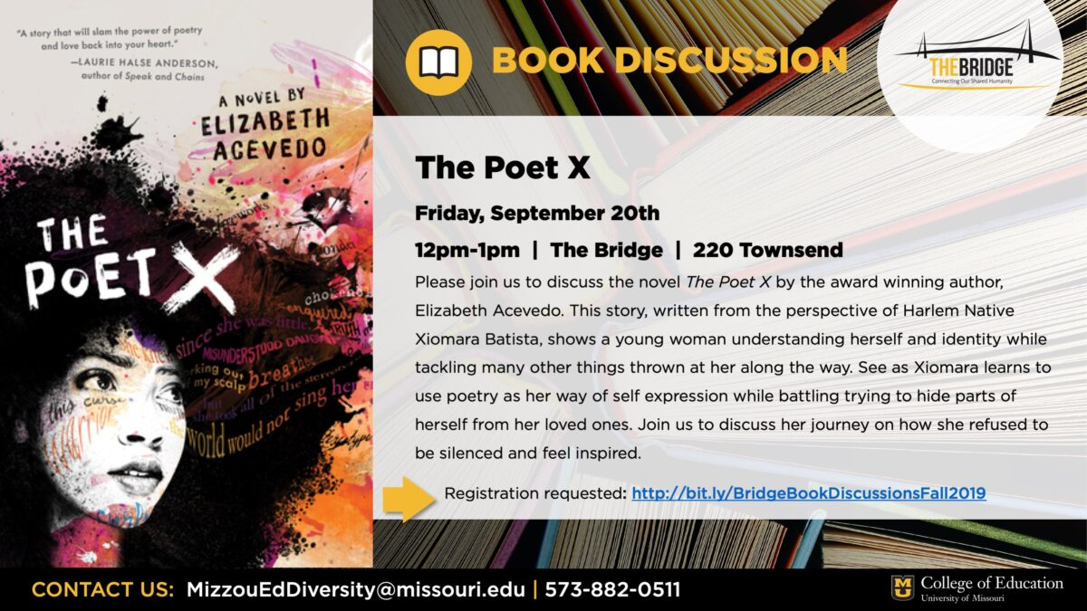 "Event flyer with ""The Poet X"" book cover and event text. Information in text of post."