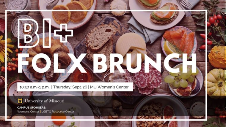 Bi+ Folx Brunch with food pictures behind the words. Info from the flyer pulled out into text of the post.