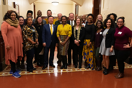 2019 MU Celebrates MLK Committee members pose with featured speaker Bree Newsome.