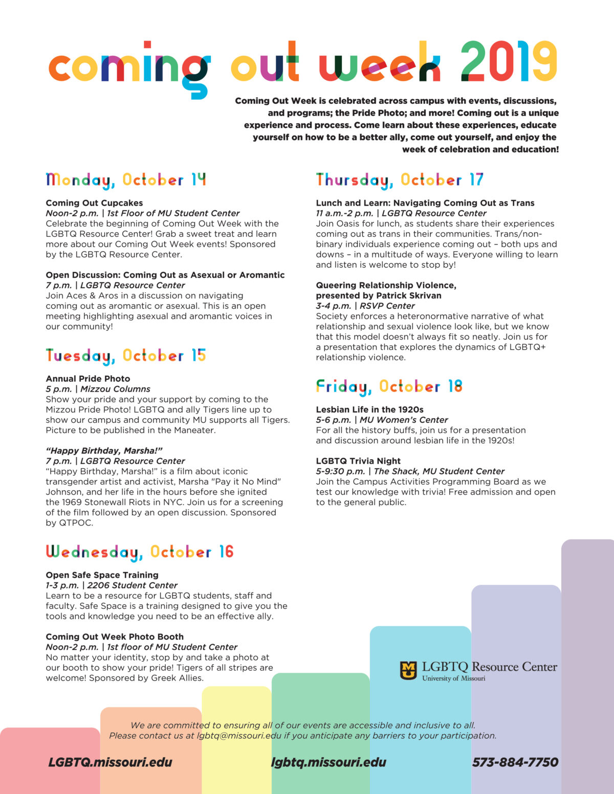 Coming Out Week event calendar. All text is in the post above.