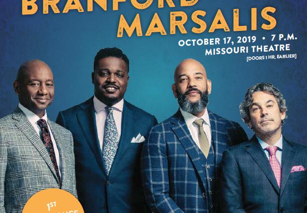 "Event flyer. ""An Evening with Branford Marsalis. 7 p.m. Oct. 17, 2019, at the Missouri Theatre. Doors 1 hour earlier. First appearance in five years."