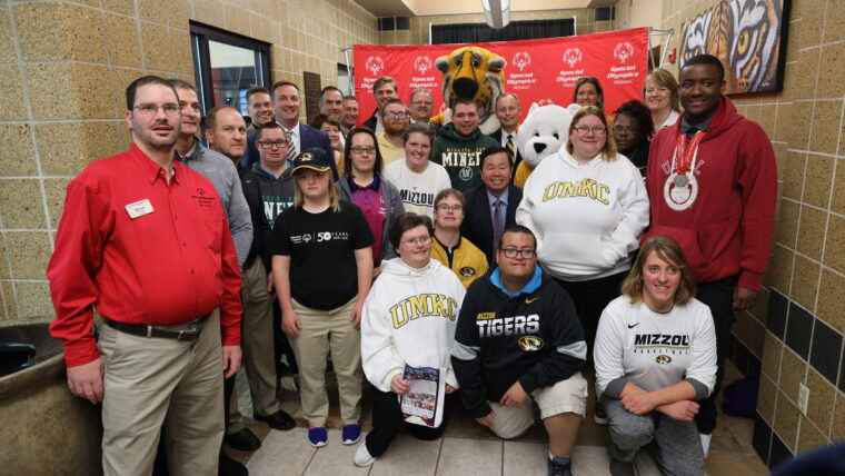 Special Olympics Missouri athletes were on hand at MizzouRec to celebrate the new partnership with Mizzou, UM System and MU Health Care.