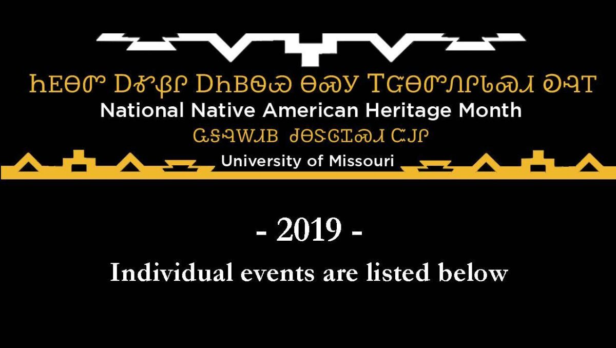 "Header with Native American text in addition to English: ""National Native American Heritage Month. 2019 individual events listed below."""
