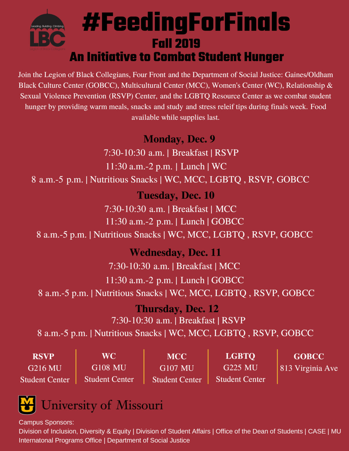 Red #FeedingForFinals event flyer. All text in post text.