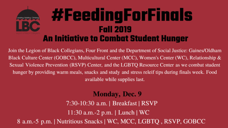 Red #FeedingForFinals event flyer horizontal crop. All text in post text.