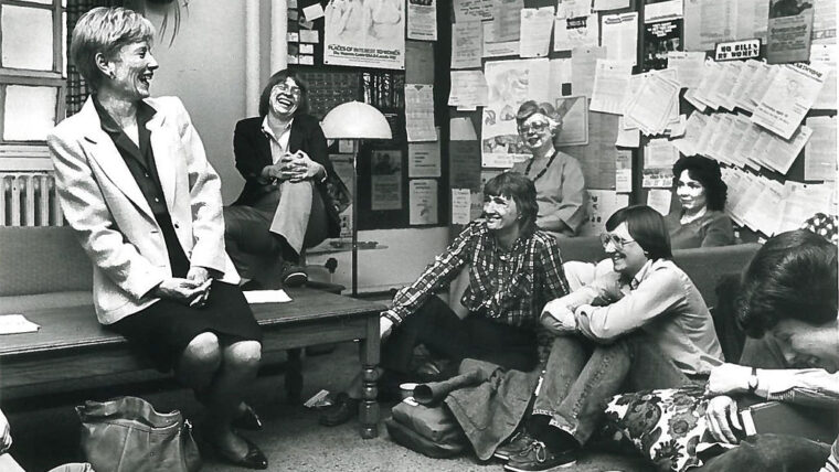 Barbara Uehling with students the Women's Center in 1982
