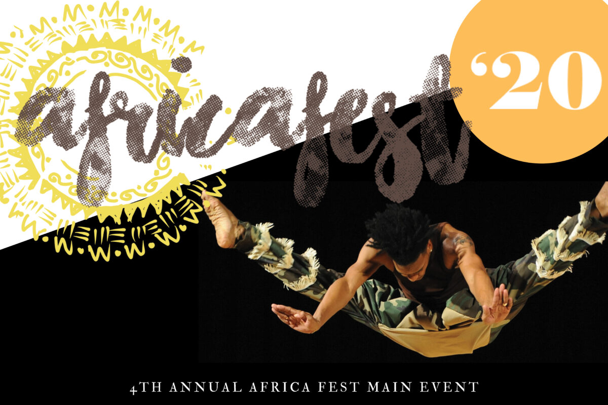 Africa Fest 20 flyer with a dancer jumping, sun and warm imagery.
