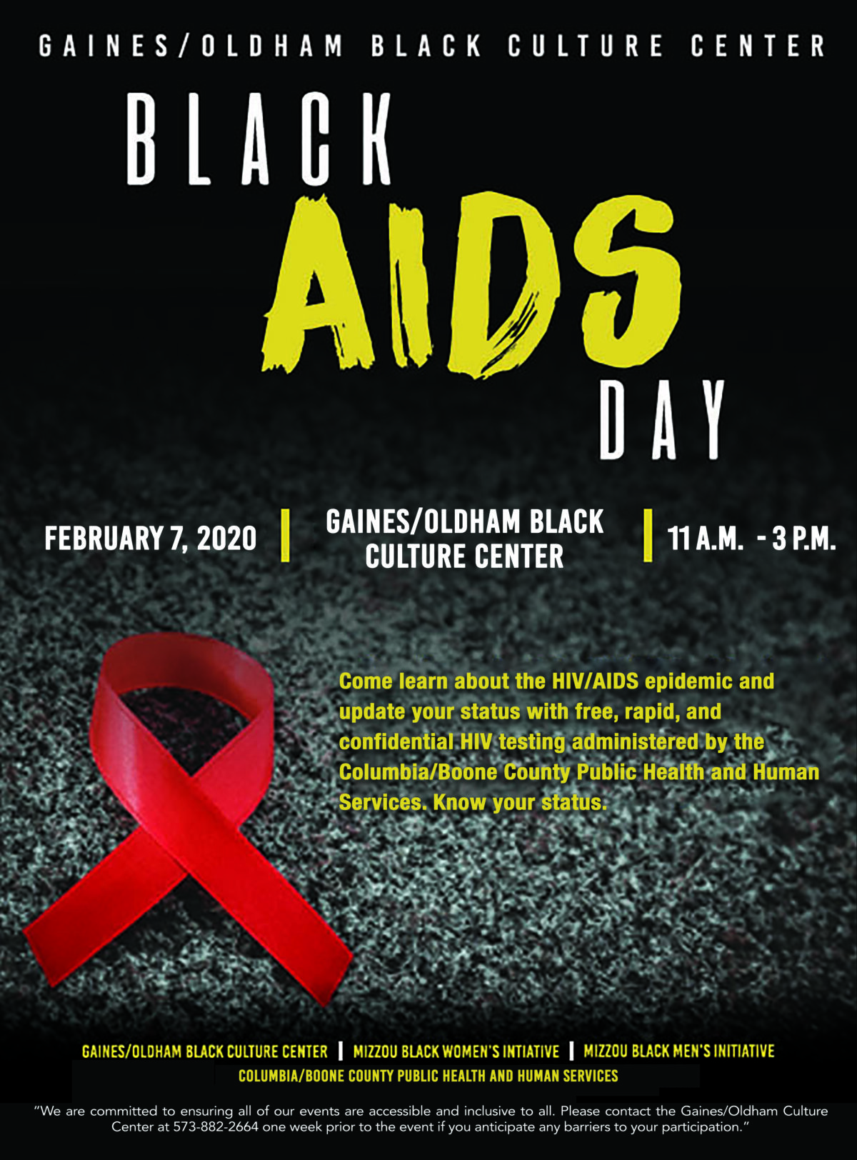 Flyer for Black AIDS Day: text on a black background with a red ribbon.