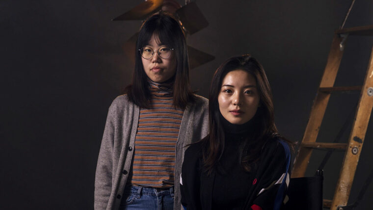 Two students in the film studio.