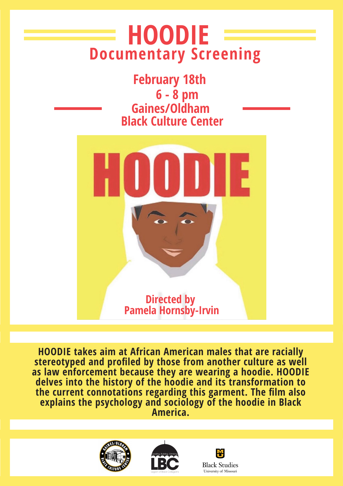 Hoodie flyer featuring information below pulled into text.