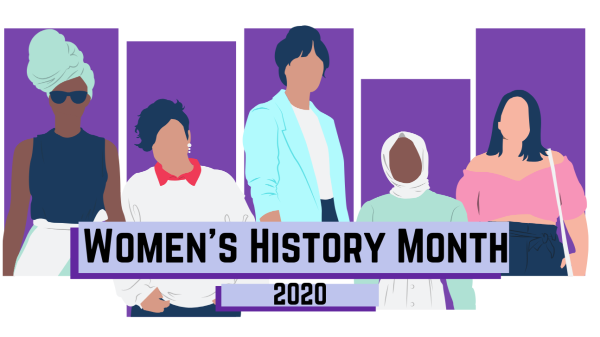 Graphic of Women's History Month with five images of women with bright colors. Artistic rendering.