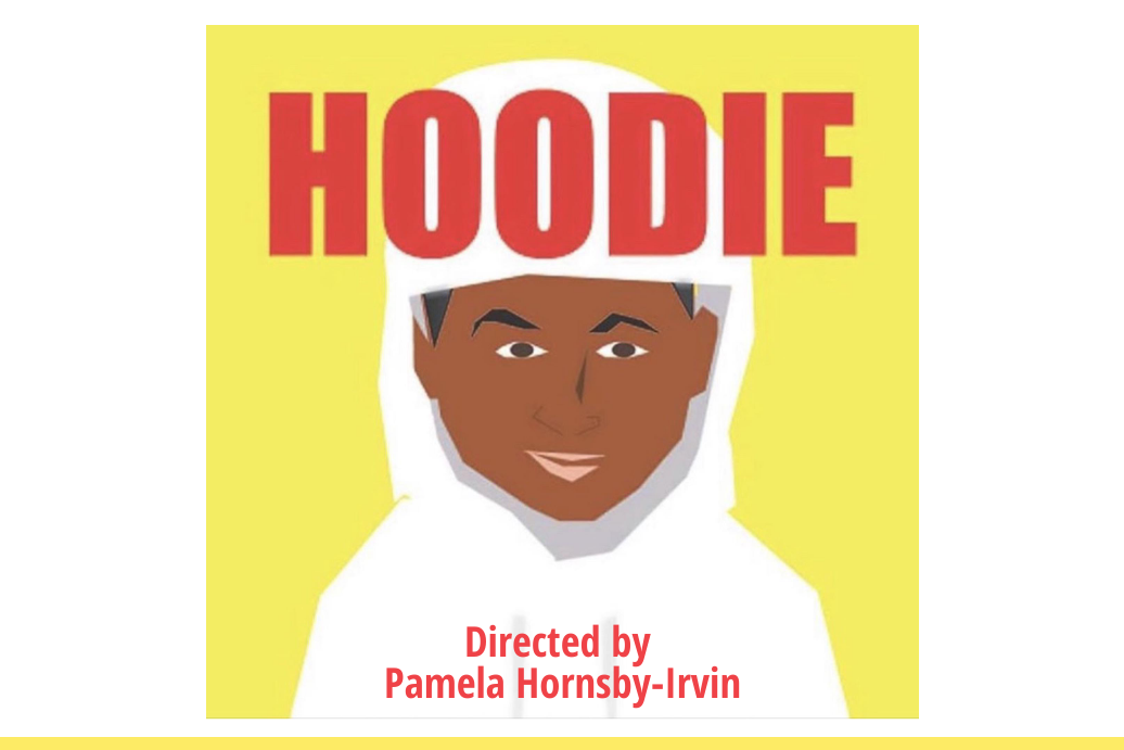 "Black male in a white hoodie with the title ""HOODIE"" in red text. Yellow background."