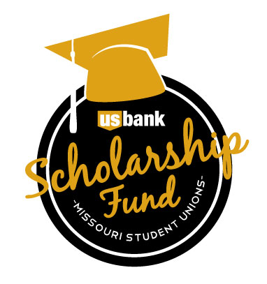 US Bank Scholarship Fund logo in black and gold. Mortar board on the black US bank logo