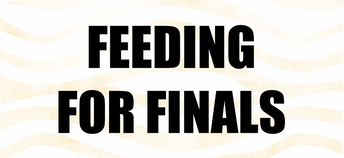 Text as image: Feeding For Finals on tiger stripe background