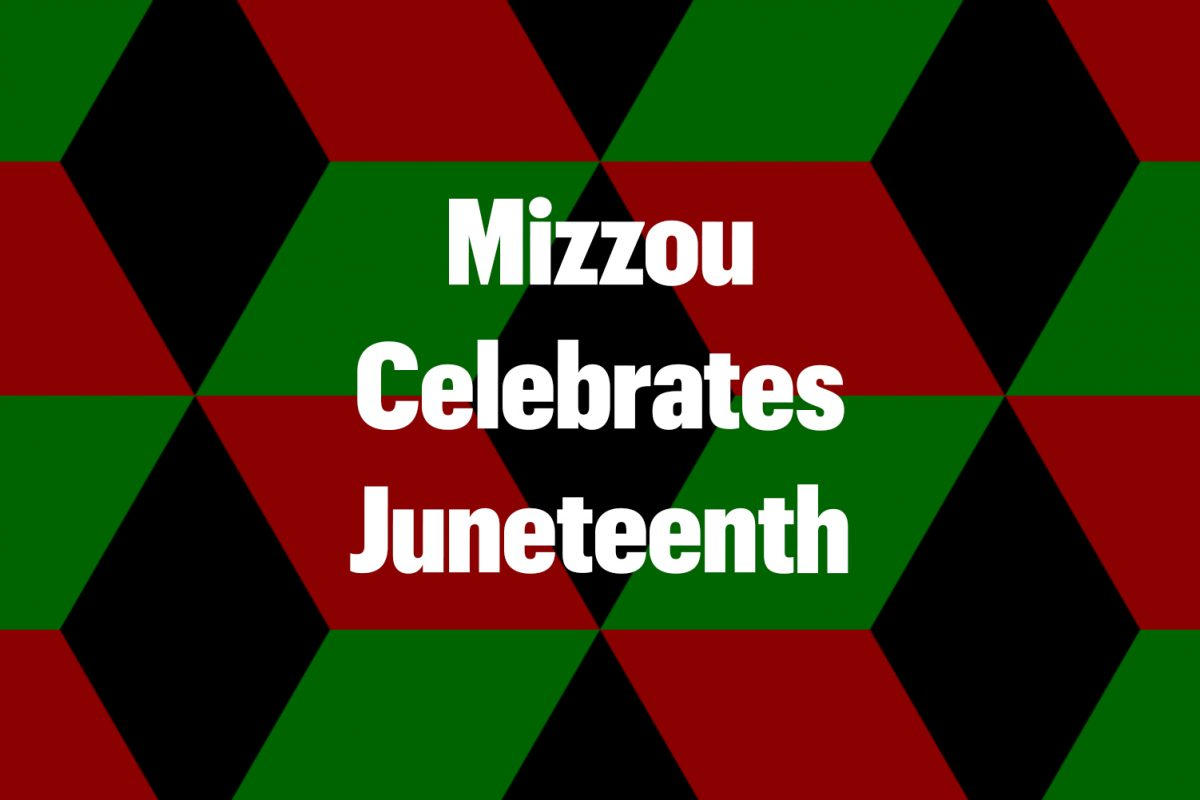 Mizzou Celebrates Juneteenth on a black, red and green hexagonal background
