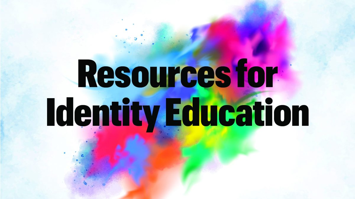 "Colorful background art with text ""Resources for Identity Education"""