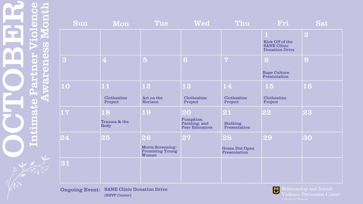 This is an image of the calendar for Intimate Partner Violence Awareness Month.