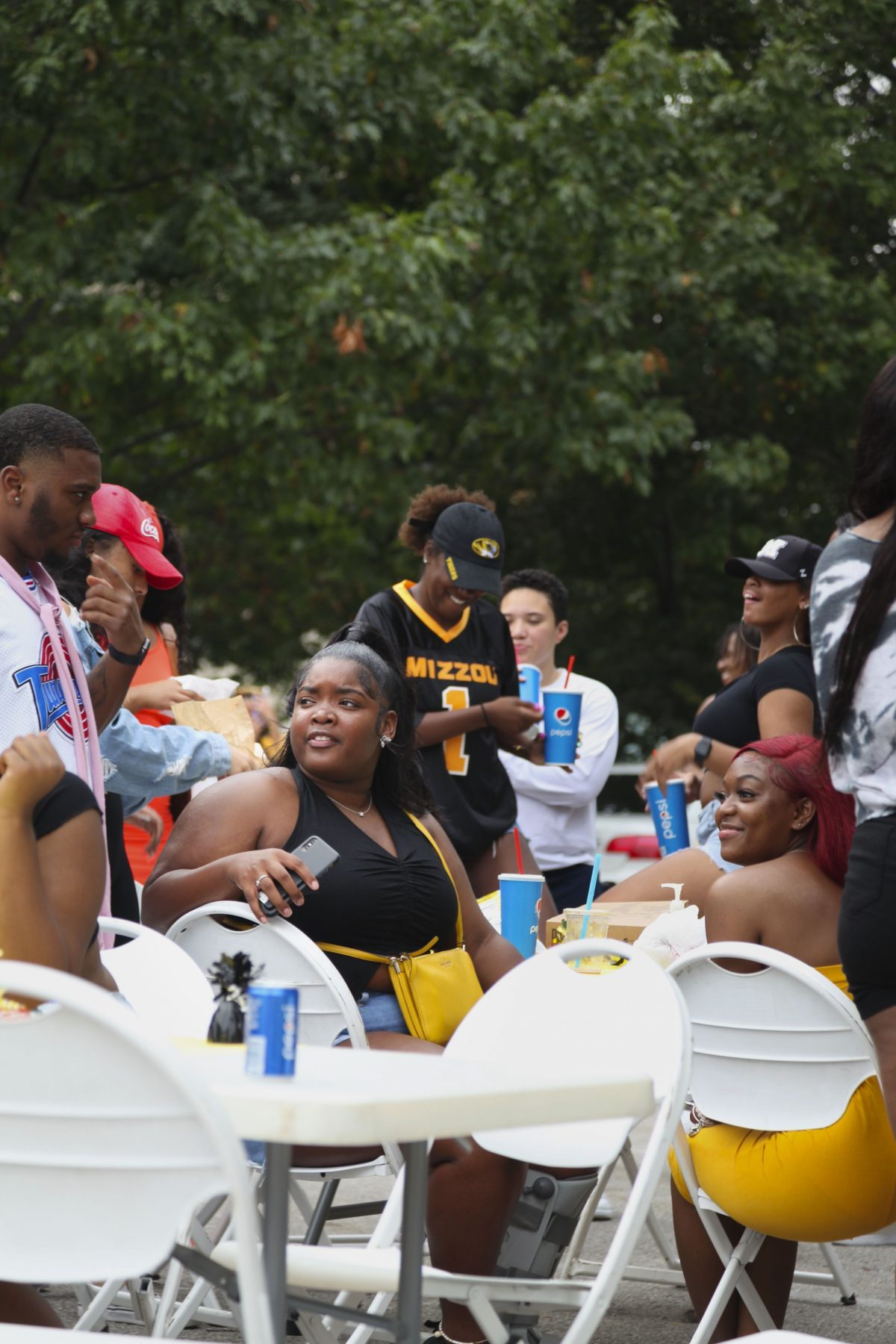 Students, faculty and staff having a great time at the GOBCC homecoming tailgate.
